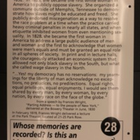 Sign 28- Francis Wright: Racial and Sexual Equality, reverse side
